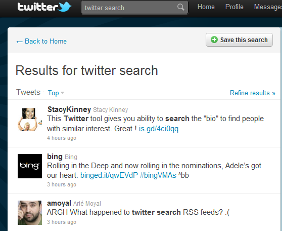 Twitter search is often completley borked.