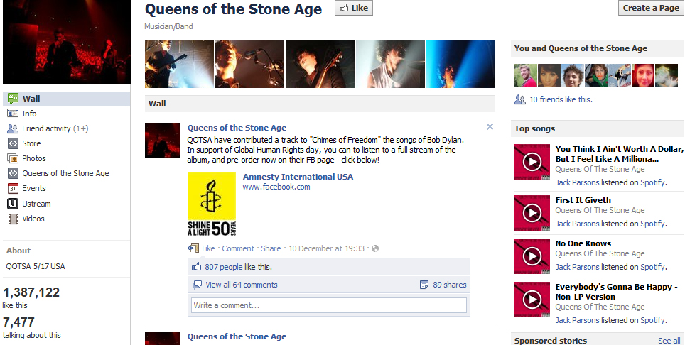 facebook page Queens of The Stone Age