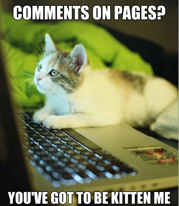 Comments On Pages? You've Got To Be Kitten Me